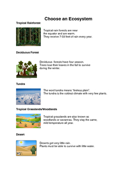 Science/ELA Assessment: Ecosystems