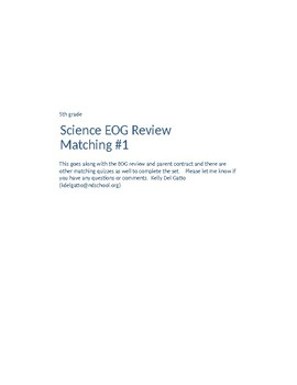 Science EOG Review Matching Quiz