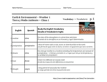 Spanish-English Science: Earth & Environmental ~ Weather 1
