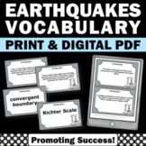 Earthquake Activity for Natural Disaster Unit, 4th 5th Grade Science Task Cards