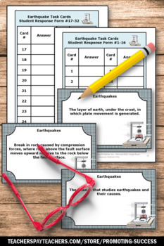Plate Tectonics and Earthquakes Task Cards for Natural Disaster Activity