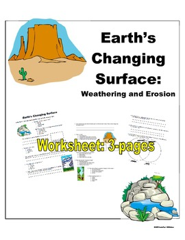 science earth 39 s changing surface worksheet by jennifer k tpt. Black Bedroom Furniture Sets. Home Design Ideas