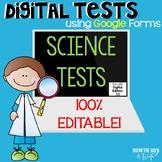 Science Editable Tests Google Forms:Sound, Light & Color, Adaptations,Food Webs!