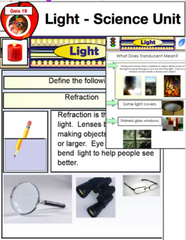 Science Education - Light Bundle PDF, Powerpoint, Smart Board, etc.