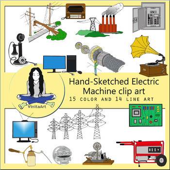 Science Electricity Machine clip art bundle