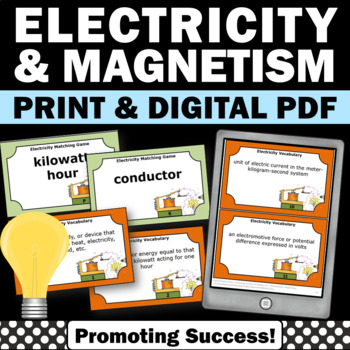 Physical Science Task Cards to Supplement Electricity and Magnetism Unit