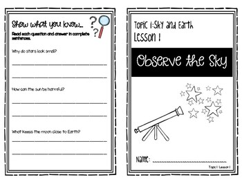 Science Elevate Grade 1 Resource Topic 1 Lesson 1: Observe the Sky