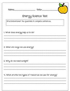 Science Energy Worksheet