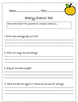 Science Energy Worksheet