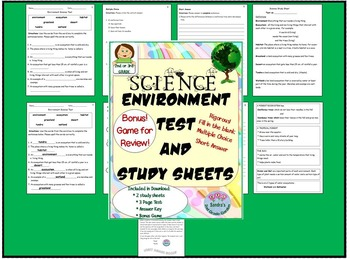 Science Environment / Ecosystem Test for 2nd or 3rd Grade / Bonus Review Game!