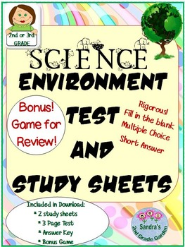 Science Environment / Ecosystem Test for 2nd or 3rd Grade