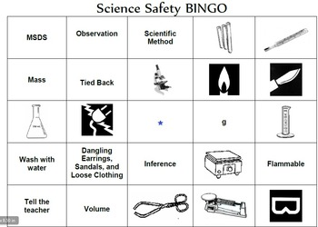 Science Equipment and Safety Bingo