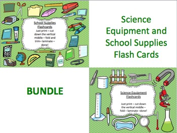 Science Equipment and School Supplies Flash Cards Bundle