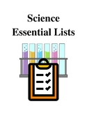 Science Essential Lists - Handouts and Printables