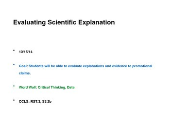 Science Evaluating Explanation