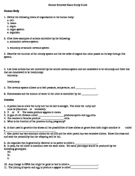 Science Exam Study Guide and Key