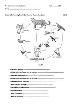 Science Exam  / Year 7 / Environment and Adaptation
