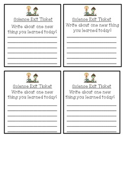 picture relating to Exit Tickets Printable named Science Exit Ticket Printable