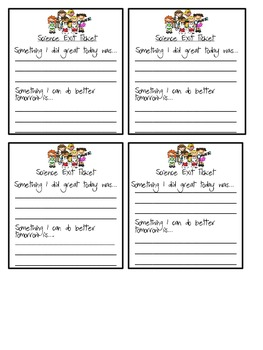 Science Exit Ticket Printable- Reflective