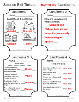 Science Exit Tickets - Landforms
