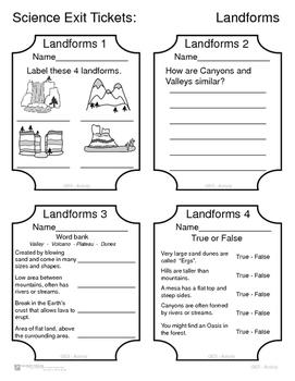 Science Exit Tickets - Landforms