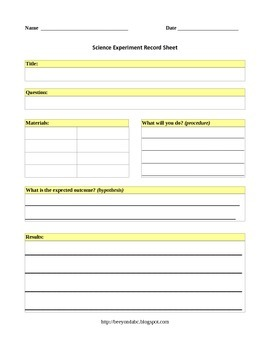 Science Experiement Record Sheets