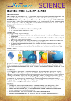 Science Experiment (25 of 50) - Balloon Skewer - GRADES 4,5,6