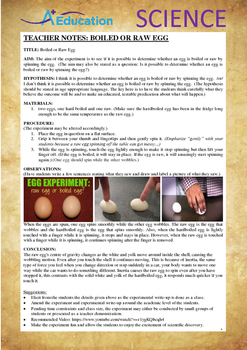 Science Experiment (32 of 50) - Boiled or Raw Egg - GRADES 4,5,6