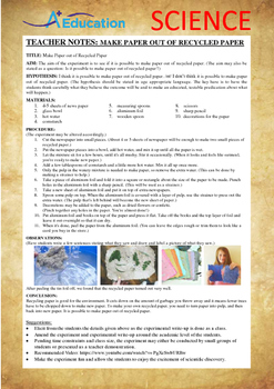 Science Experiment (38 of 50) - Make Paper out of Recycled Paper - Grades 1,2,3