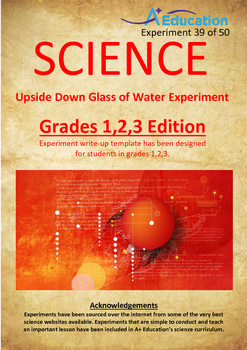 Science Experiment (39 of 50) - Upside Down Glass of Water - Grades 1,2,3