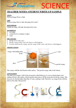Science Experiment (40 of 50) - Will an Orange Float or Sink - Grades 1,2,3