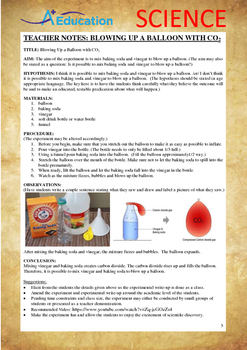 Science Experiment (5 of 50) - Blow Up a Balloon with CO2 - Grades 1,2,3
