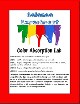 Science Experiment- Color Absorption with a Thermometer