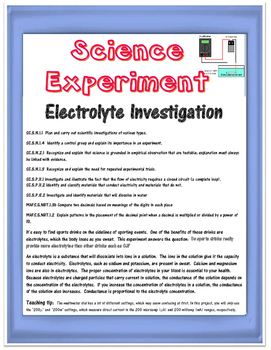 Science Experiment- Electrolyte Investigation