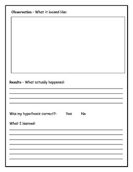 {FREEBIE} Science Experiment Form- Steps for an experiment