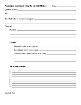 FREEBIE! Science Experiment Planning Template