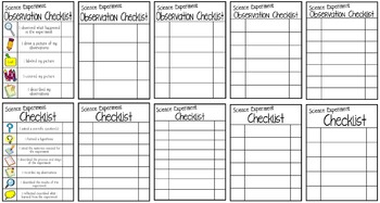 Science Experiment Journal Writing Pages & Checklists