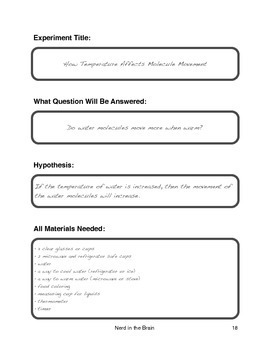 Science Experiment Pages - Black & White Version