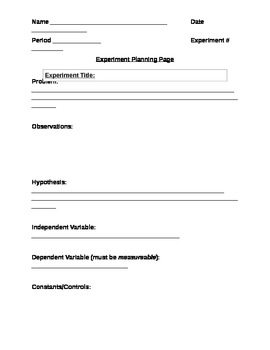 Science Experiment Planning Page for Students