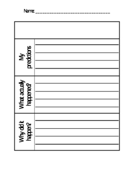 Science Experiment Prediction Sheet