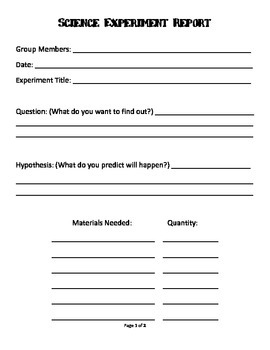 Science Experiment Report Template By Amelia Gulbrandsen Tpt