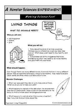 Science Experiment about Living Things - What do animals need?