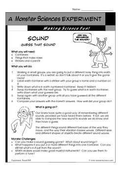 Science Experiment about Sound:  Guess that sound!