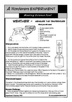 Science Experiment about Weather - Make a thermometer to measure temperature