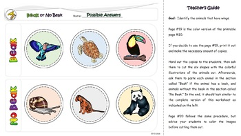 Science: Exploring Animal Body Parts (Color and B&W) Cut and Paste Printables