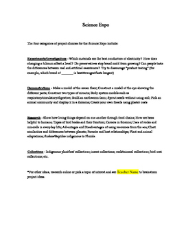 Science Expo (Fair) Information Packet