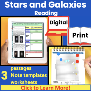 Stars and Galaxies Guided Reading (includes  H-R diagram worksheets)