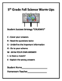 5th Grade Science (FALL) Daily Warm-Ups (FREE)