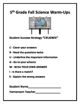 5th Grade Science Fall Daily Warm Ups Free Tpt