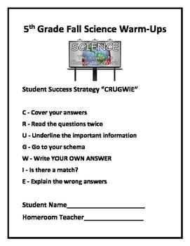 5th Grade Science (FALL) Daily Warm-Ups (FREE)
